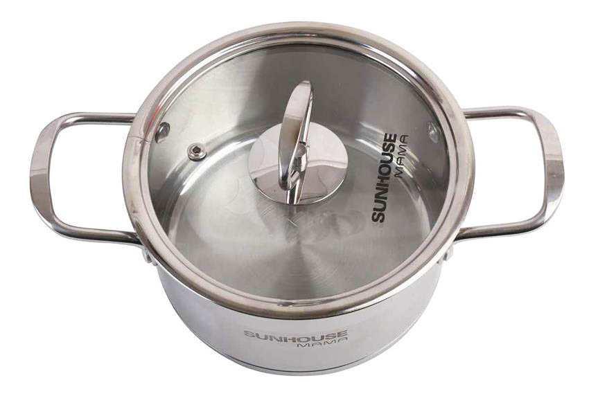 Nồi inox 5 đáy Sunhouse Mama 24cm nắp kính dùng bếp từ, bếp hồng ngoại bếp gas