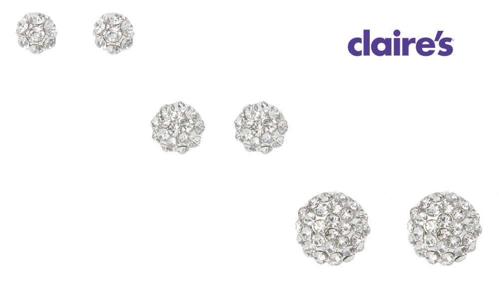 Bộ 6 đôi khuyên tai mỹ ký Claire's hàng xuất USA