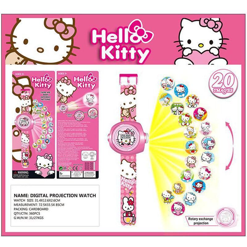 Đồng hồ điện tử đeo tay chiếu hình 3D WLT22L mèo Hello Kitty