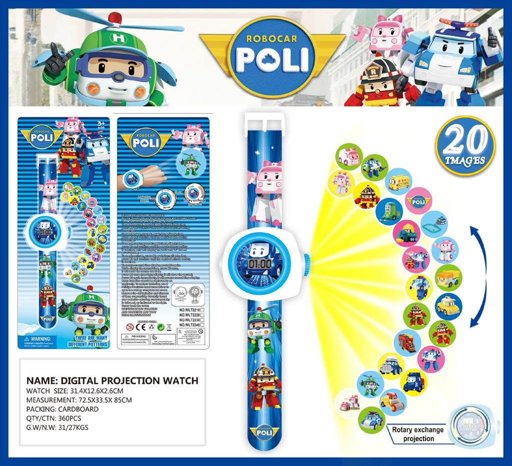 Đồng hồ điện tử đeo tay chiếu hình 3D WLT2210 Robotcar Poli