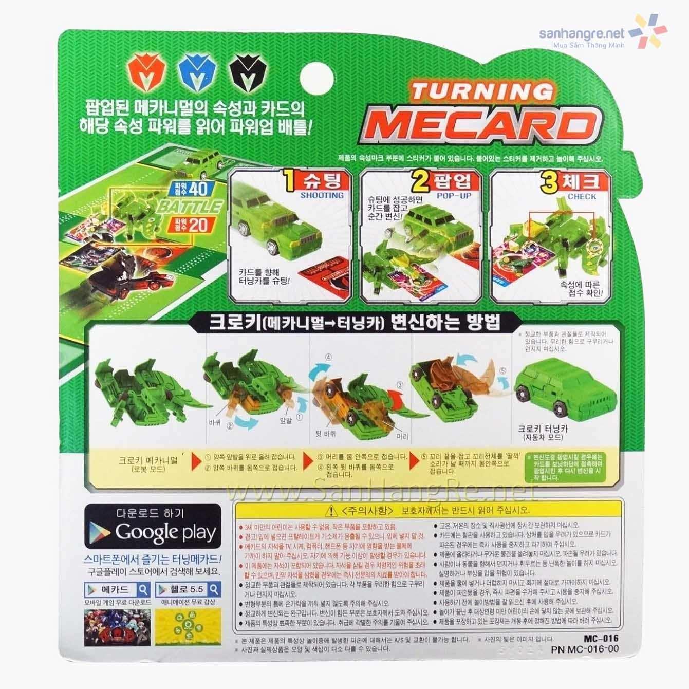 Đồ chơi ô tô biến hình thẻ bài Turning Mecard