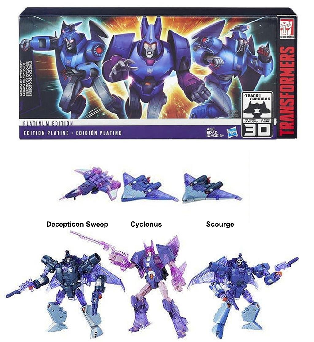 Bộ 3 Robot Transformers Platinum Edition Armada of Cyclonus - Scourge - Decepticon Sweep (Box)