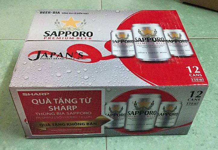 thùng 12 lon 330ml bia sapporo