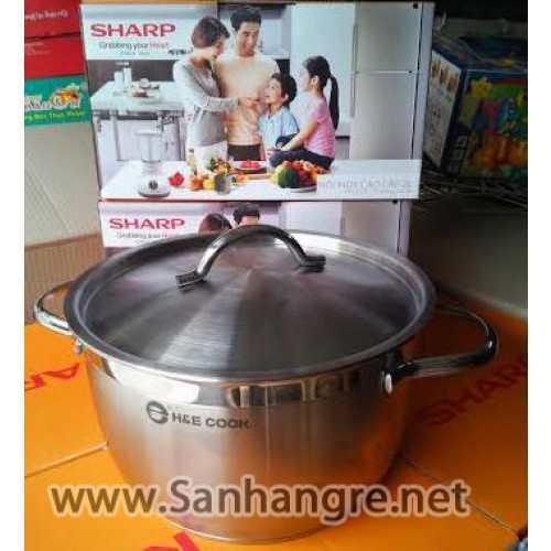 Nồi inox 3 đáy H&E cook hàng quà tặng từ Sharp 20cm