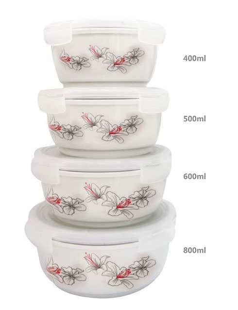 Bộ 4 thố gốm sứ cao cấp Hoa Ly Food Container DongHwa B1505S4