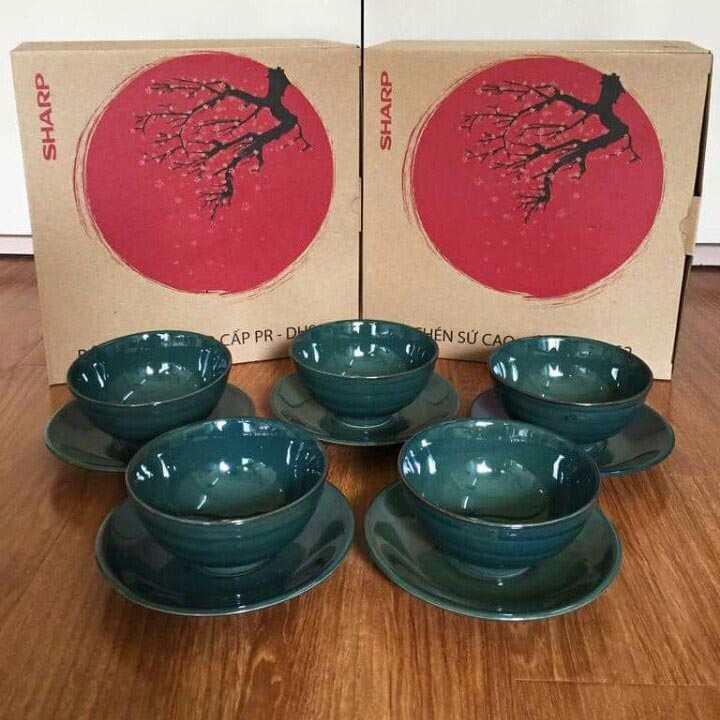 Bộ 5 bát đĩa sứ men ngọc Donghwa Sharp