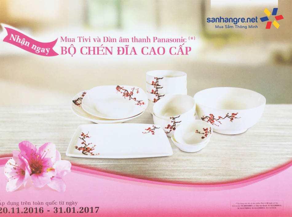 Bộ 12 món tô, bát, đĩa sứ Ceramic Hoa đào Panasonic
