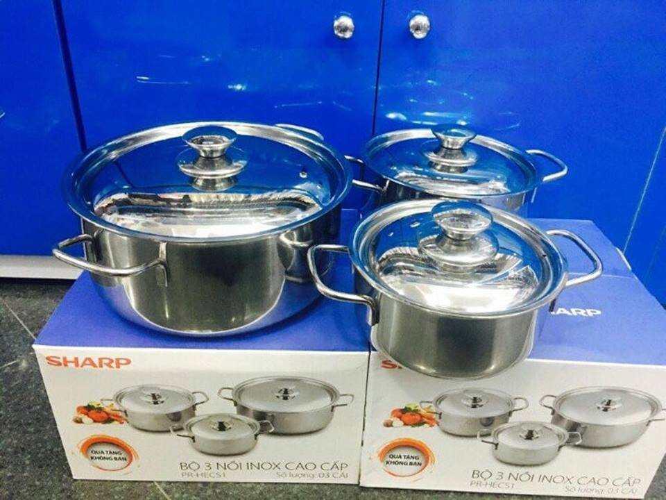 Bộ 3 nồi Inox Sharp dùng bếp từ