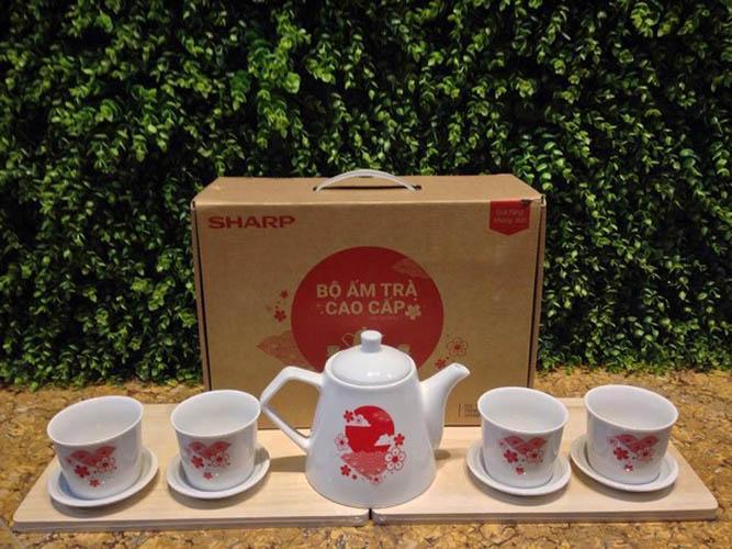 Bộ ấm trà hoa đào sứ Dong Hwa cao cấp Sharp PR-DHTEA1