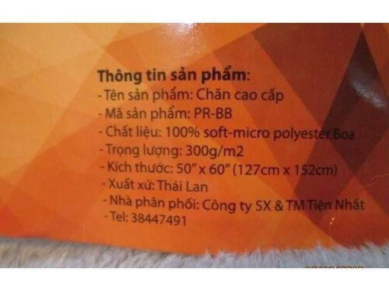 Chăn băng lông Sharp 127x152cm hàng Thái Lan