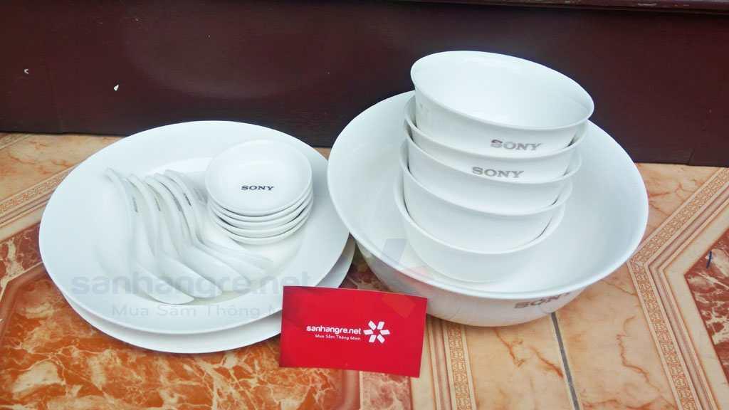 Bộ tô, đĩa, chén 18 mon sứ xương Sony dành cho 5 người