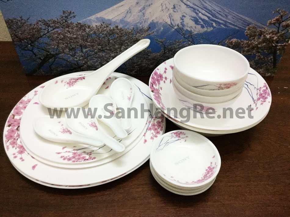 Bộ 19 món bát đĩa thìa Ngọc Phú Sĩ hoa đòa Nhật Bản - Sony Salsa OP21916