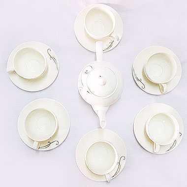 Bộ ấm trà hoa tiên sứ sương Sony