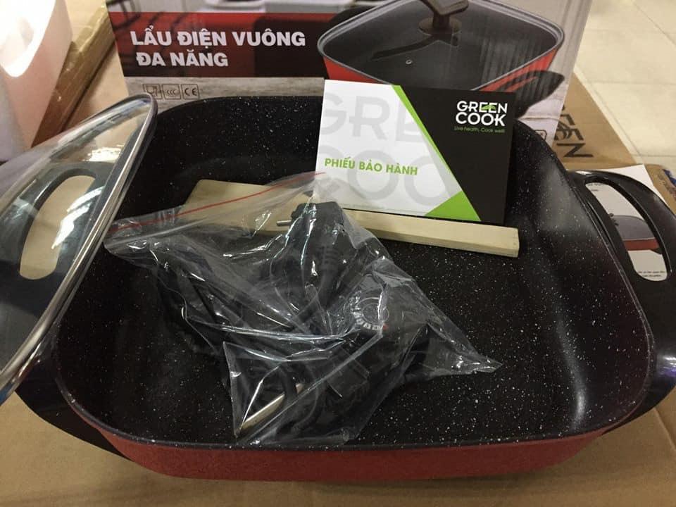 Nồi Lẩu Điện Nướng Vuông Đa Năng Greencook Sony 5L 1350W GCEH30