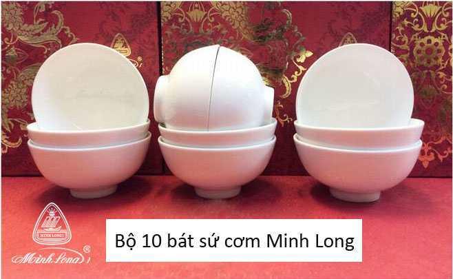 Bộ 10 bát cơm sứ Minh Long Jasmine - Trắng
