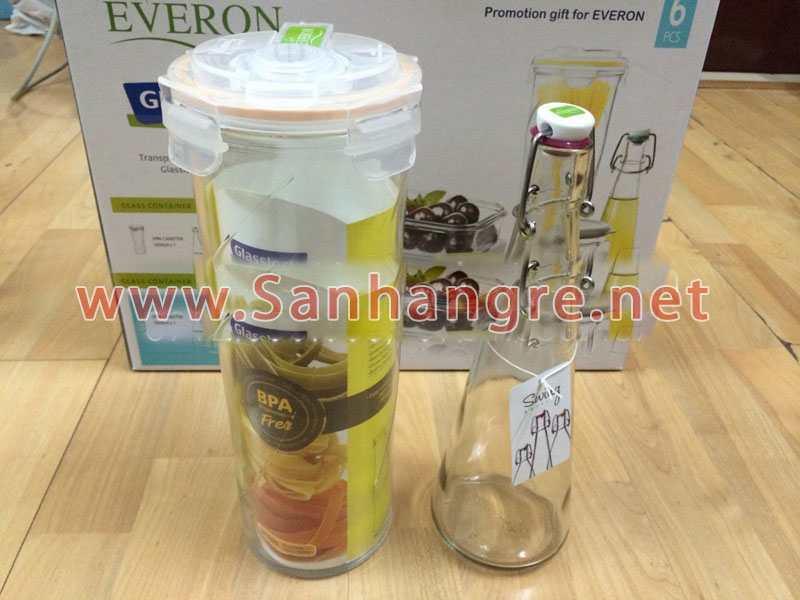 bộ 6 món thủy tinh cao cấp glasslock quà tặng từ everon