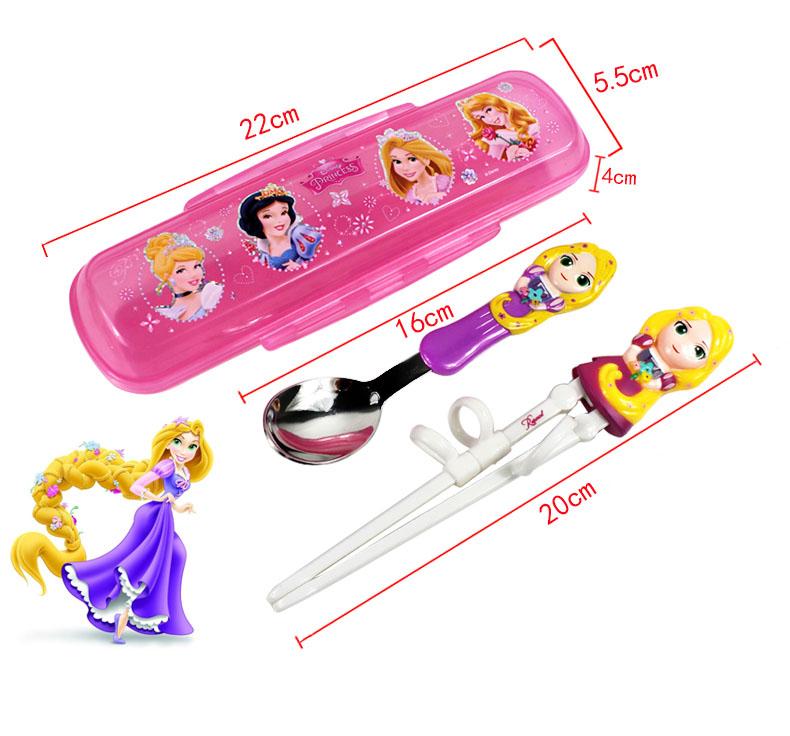 Bộ đũa tập ăn 3D, thìa Inox và hộp đựng cho bé Disney Frozen - Công chúa Elsa