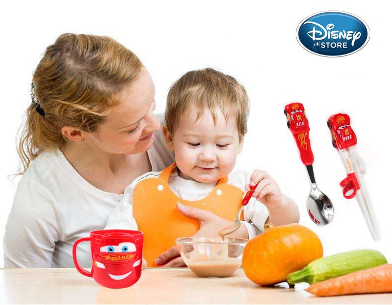 Bộ đũa tập ăn 3D, thìa Inox và hộp đựng cho bé Disney PIXAR - Mc Queen