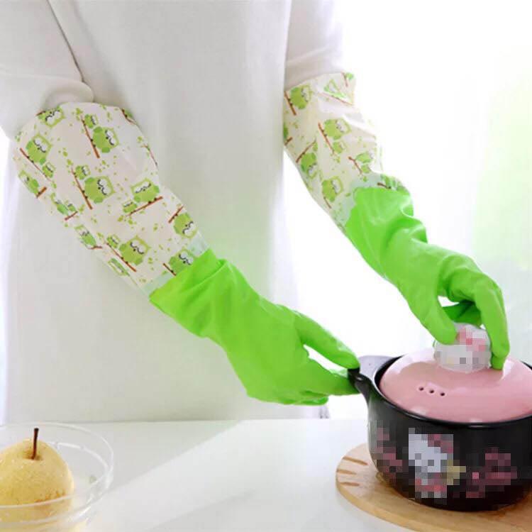 Găng tay cao su lót nỉ 2 lớp Hàn Quốc