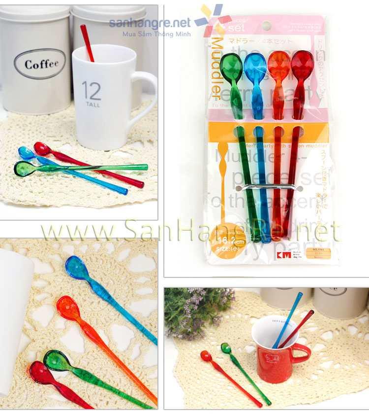 Bộ 4 thìa cafe sắc màu KM-1144 hàng Nhật