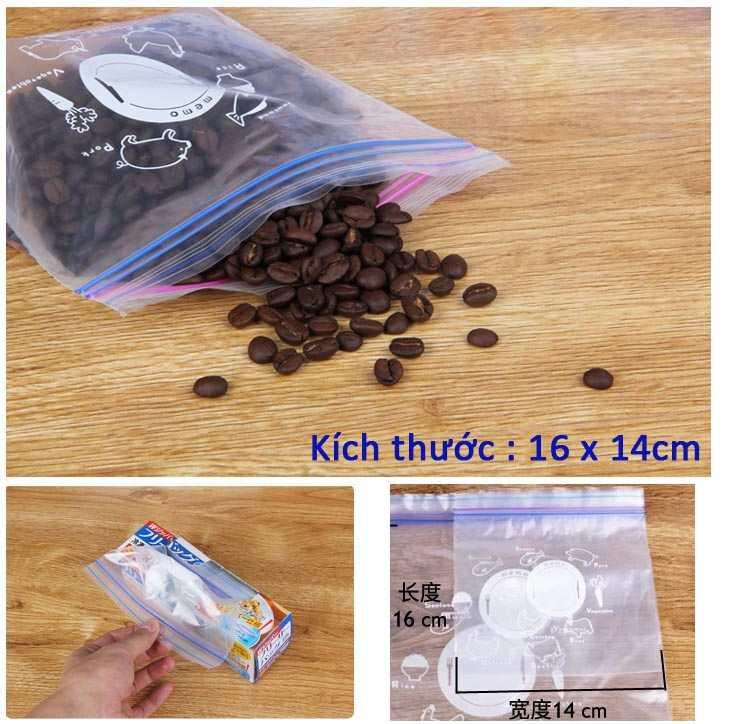 Bộ 20 túi Zipper bảo quản thực phẩm 16x14cm hàng Nhật