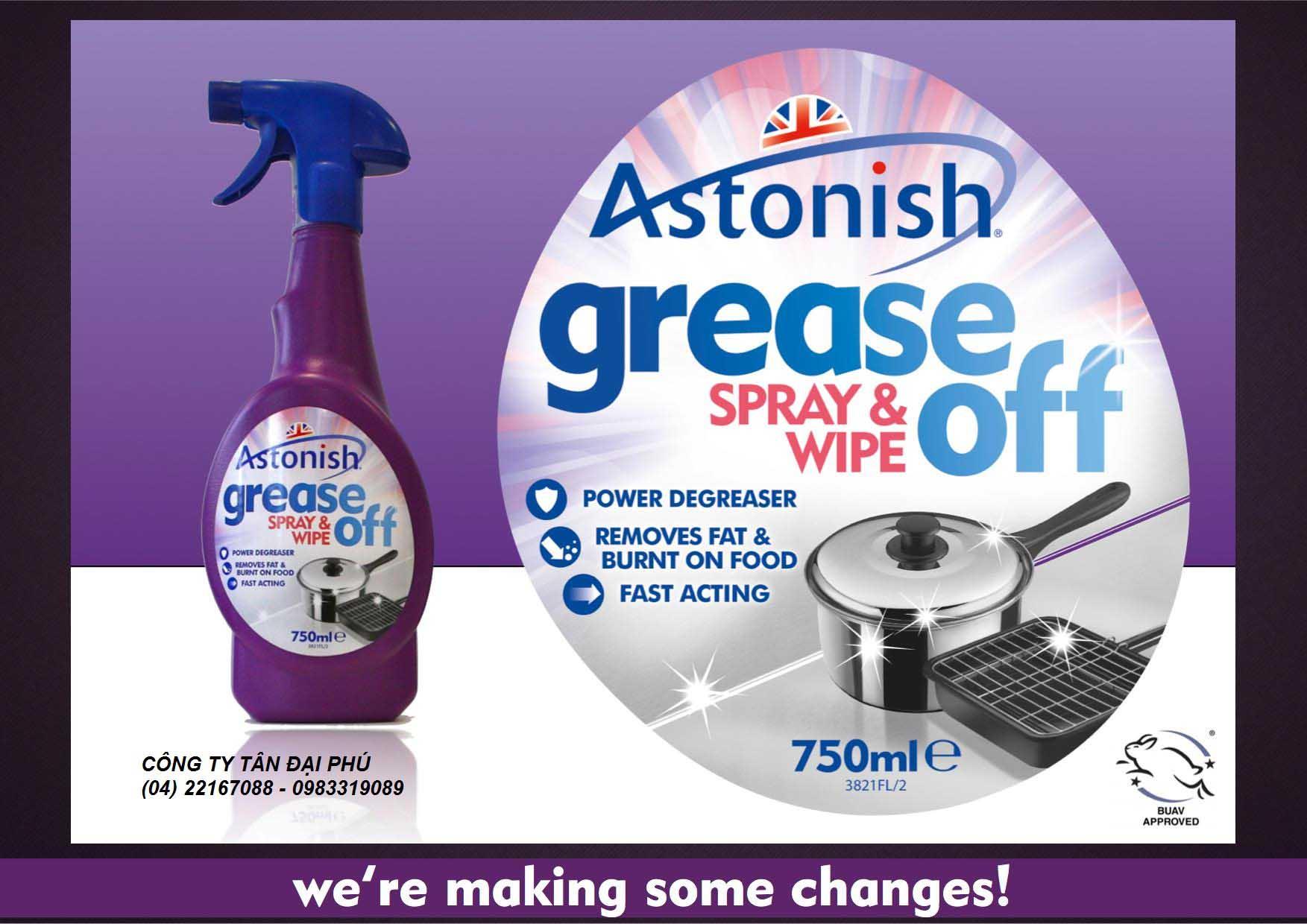 Chất tẩy rửa dầu mỡ Astonish Grease Off 750ml xuất xứ Anh Quốc
