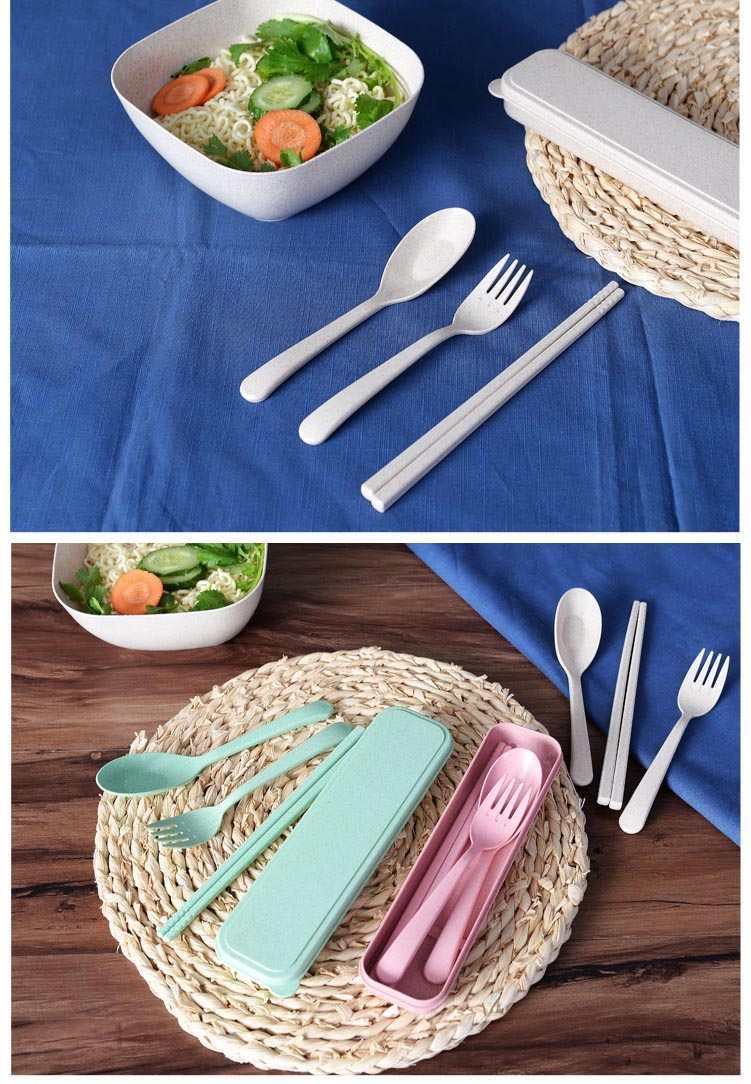 Bộ đũa thìa dĩa nhựa cao cấp A533 xuất Hàn Quốc