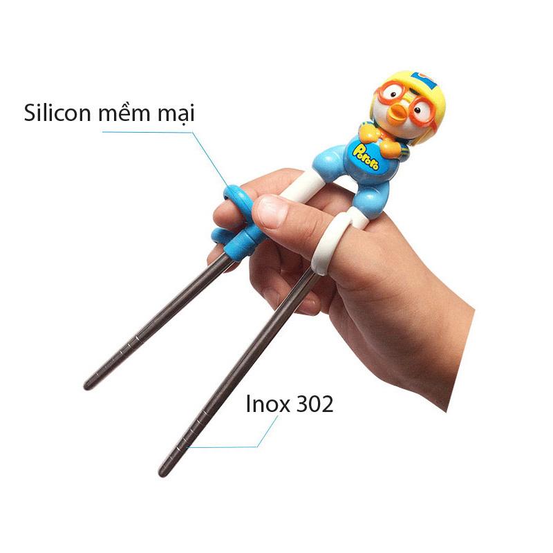 Đũa Tập Ăn INOX 304 Cho Bé Hoạt Hình 3D Pororo Hàng Hàn Quốc