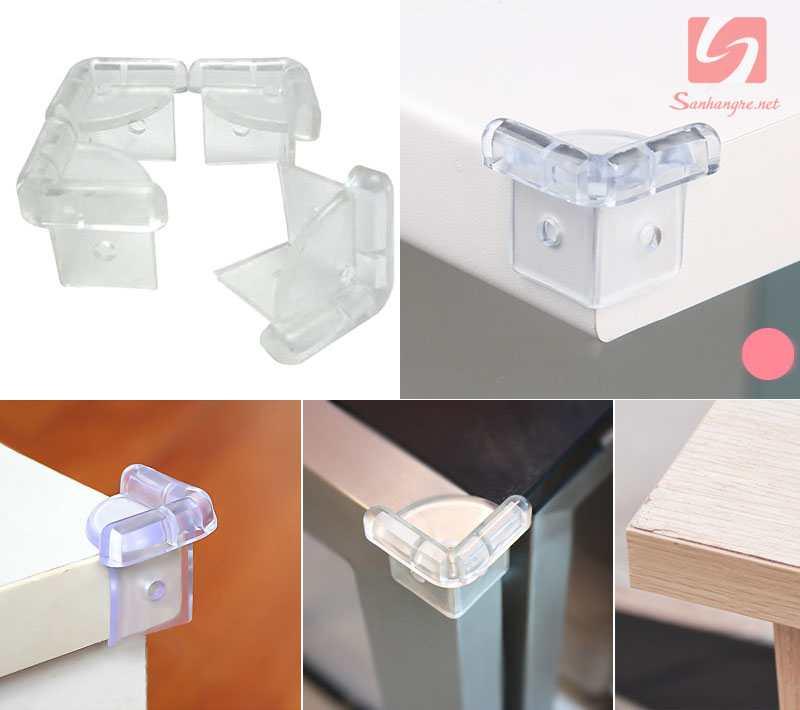 Bộ 2 miếng nhựa trong suốt bịt góc bàn KM 323 hàng Nhật