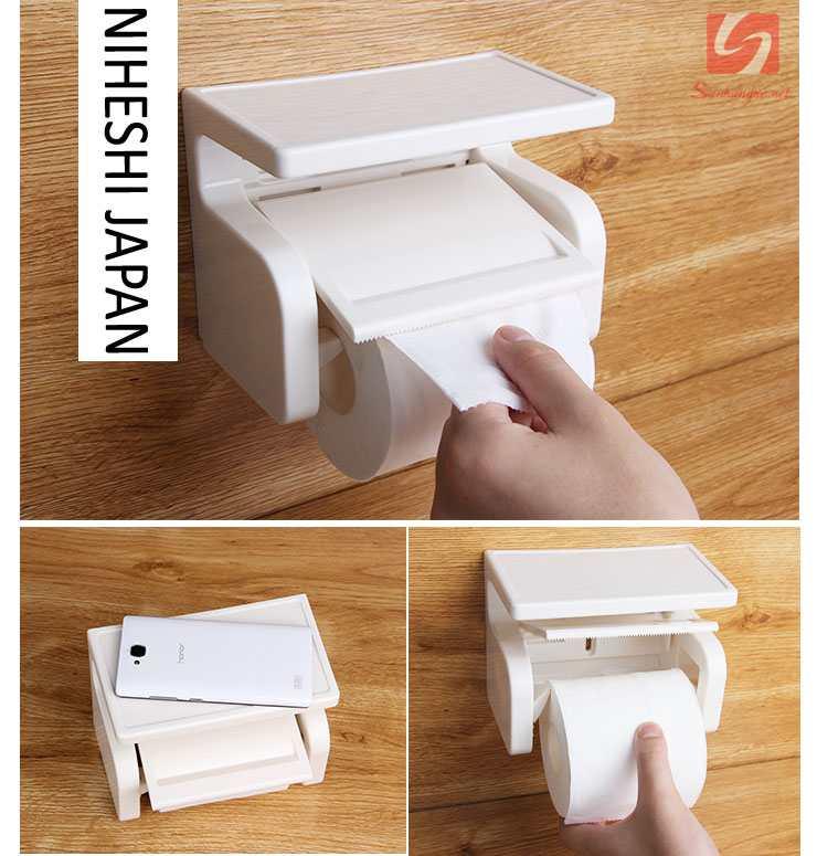 Hộp đựng giấy vệ sinh và giá để đồ dính tường Niheshi 6004 hàng Nhật