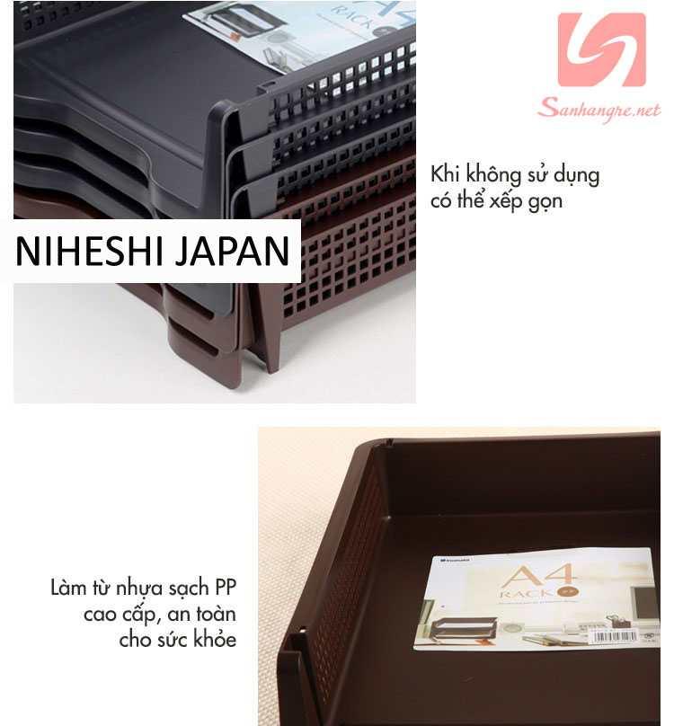 Khay đựng tài liệu A4 xếp chồng Niheshi 6196 hàng Nhật