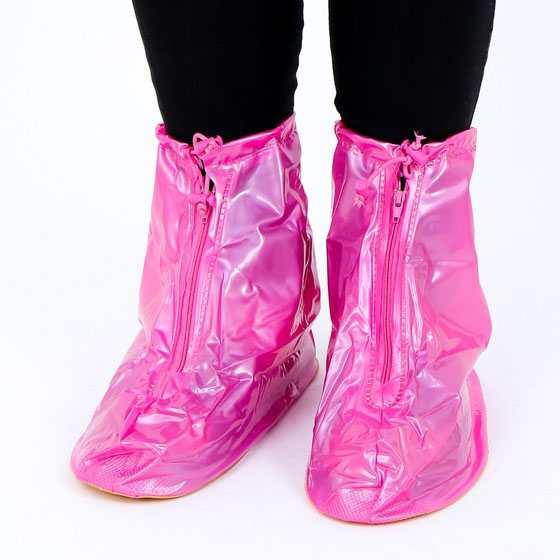 Ủng đi mưa bảo vệ giầy cố ngắn đế chống trơn - Hồng