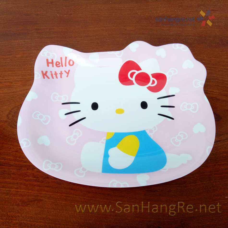 Bộ đồ dùng ăn hình Hello Kitty đỏ cho bé hàng xuất Nhật