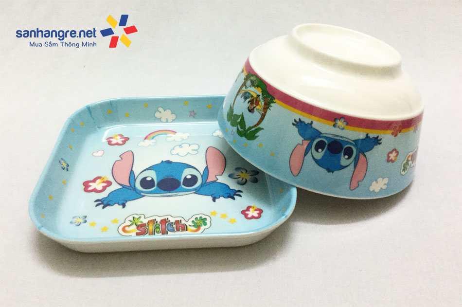 Bộ đồ dùng ăn hình chó Stitch cho bé hàng xuất Nhật
