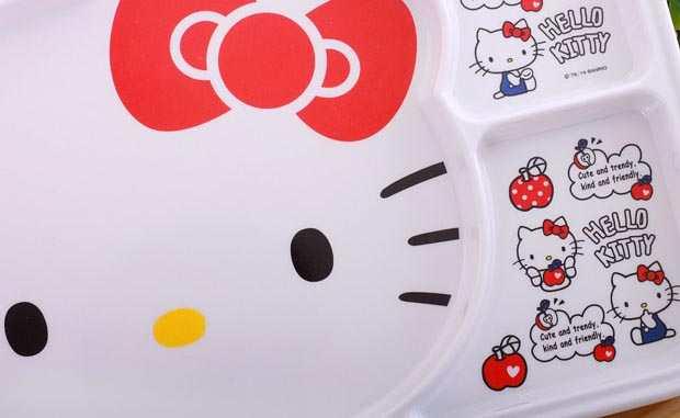 Khay ăn chia 3 ngăn hoạt hình mèo hồng Hello Kitty hàng xuất Nhật