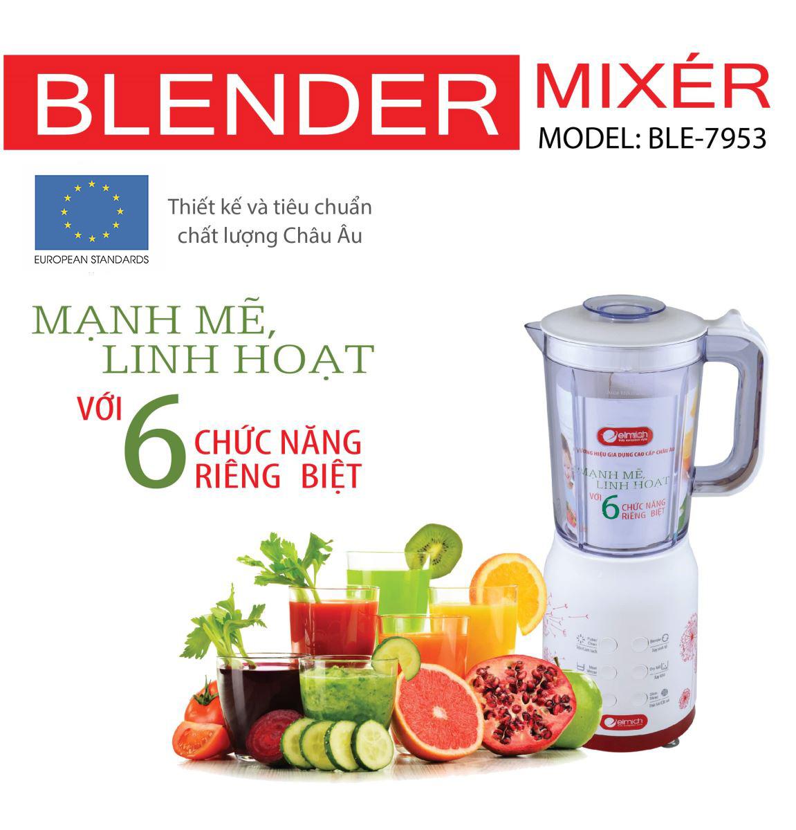 Máy xay sinh tố cao cấp Elmich BLE-7953 chuẩn chất lượng Châu Âu