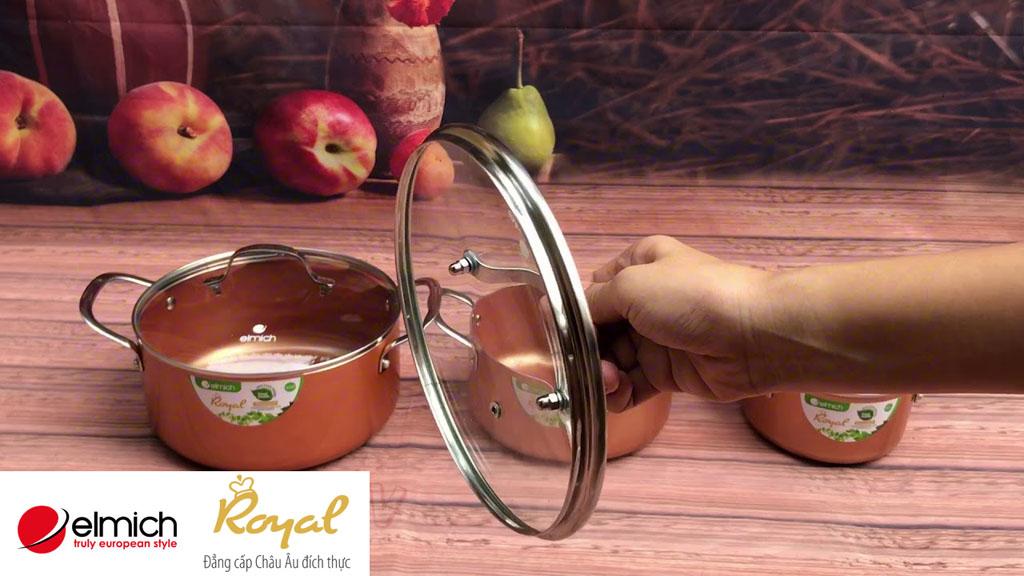 Bộ 3 nồi chống dính Elmich Royal Classic EL-3700 dùng bếp từ