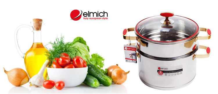 Bộ nồi xửng hấp Elmich inox 304 Red Velvet 28cm EL0979
