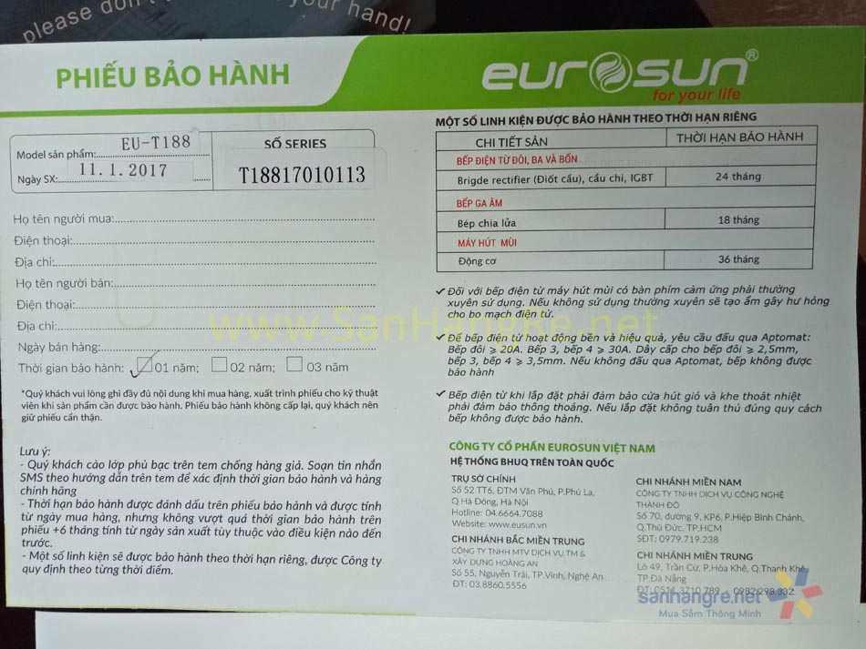 Bếp điện từ đơn Eurosun EU-T188