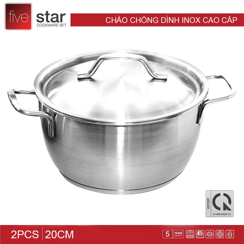 Nồi Inox 3 đáy Fivestar đường kính 20cm dùng bếp từ - Hàng chính hãng bảo hành 12 tháng