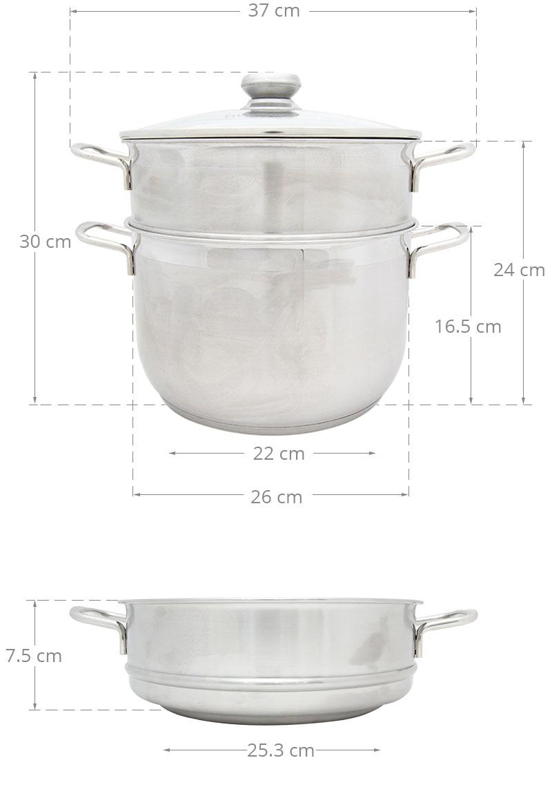 Bộ nồi xửng hấp Inox 3 đáy Fivestar 26cm nắp kính dùng bếp từ