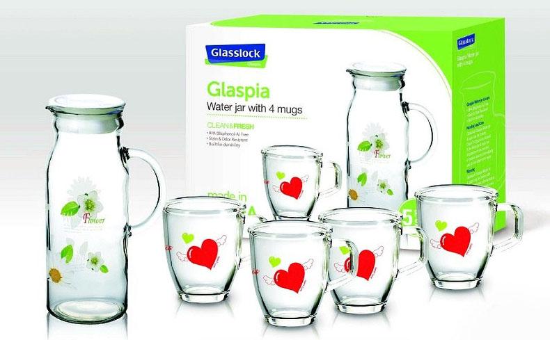 Bộ bình nước và 4 ly thủy tinh Glasslock CG982
