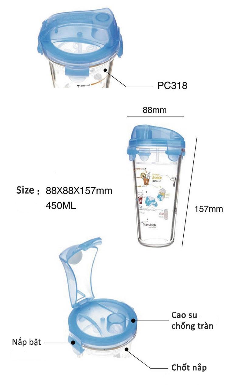 Ly thủy tinh chia vạch có nắp Glasslock Diet Shaker PC318 450ml