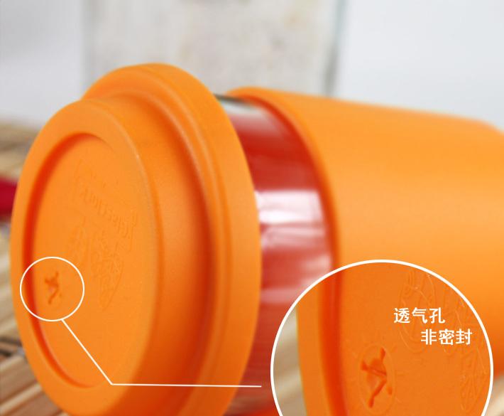 Ly thủy tinh tay cầm Silicol 380ml Glasslock RC-107 - cam