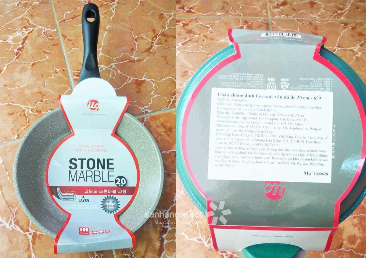 Chảo chống dính Ceramic vân đá ILO Stone Marble Hàn Quốc đáy từ 20cm
