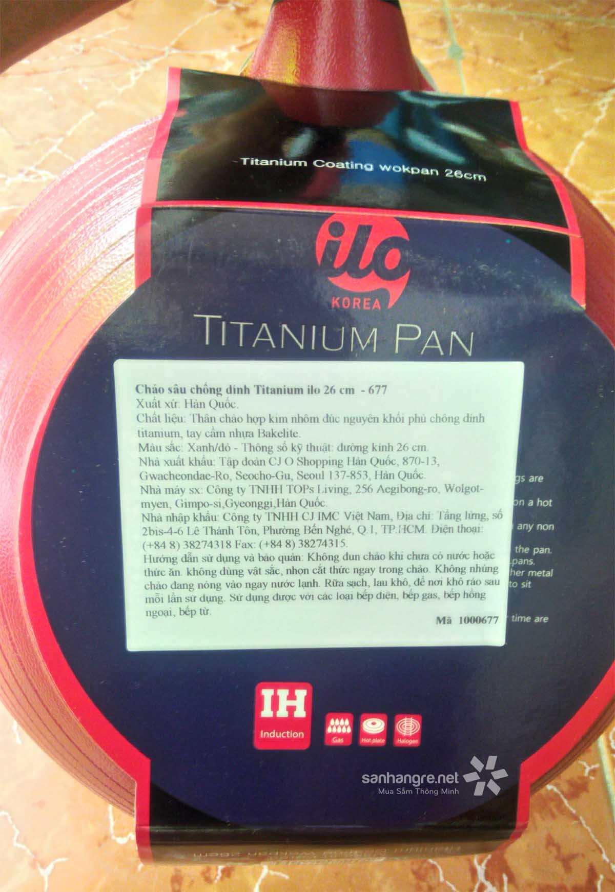 Chảo chống dính sâu lòng 26cm ilo Kitchen Titanium Hàn Quốc cao cấp đáy từ