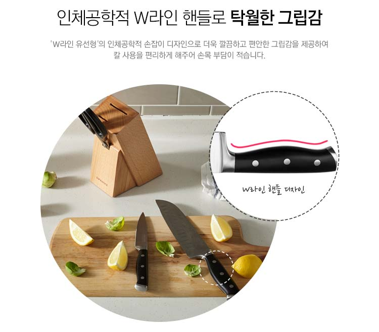 Bộ 4 món 2 dao, 1 kéo Inox 304 và giá gỗ cắm dao Lock&lock CKK401