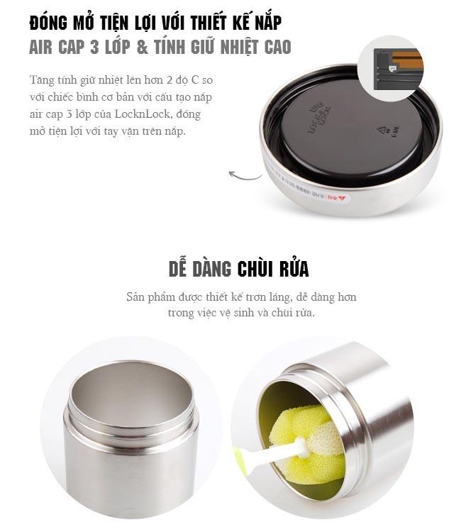 Bộ hộp cơm Inox giữ nhiệt Lock&Lock LHC8016S01