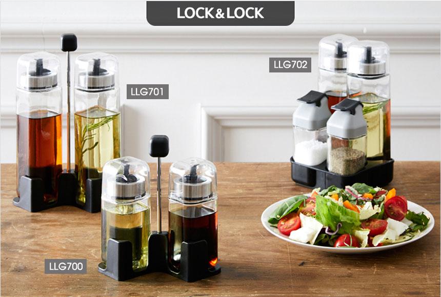 Bộ 2 hũ thủy tinh đựng gia vị dầu ăn kèm khay Lock&lock LLG701
