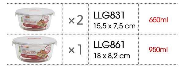 Bộ 3 hộp thủy tinh chịu nhiệt Lock&Lock LLG861S903